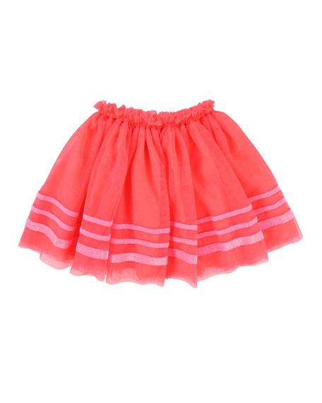 Tulle Glitter-Striped Skirt, Size 4-8