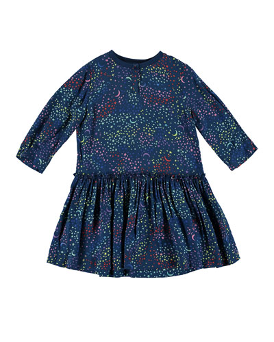 Long-Sleeve Multicolored Star Dress, Size 4-14