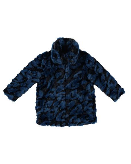 Heart-Print Faux-Fur Jacket, Size 4-14