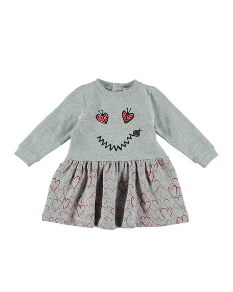 Ladybug Smiley Face & Heart Long-Sleeve Dress, Size 6-36 Months