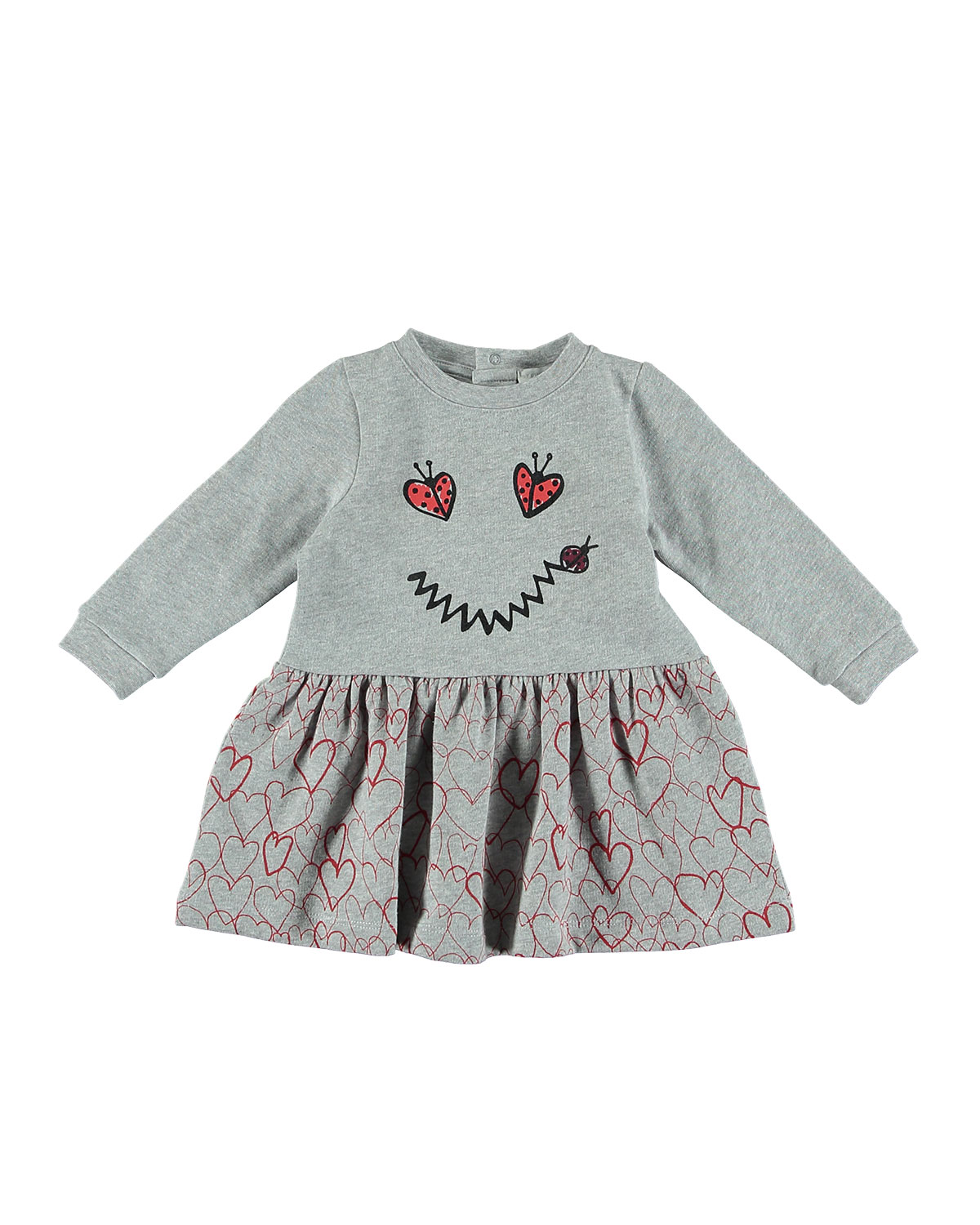d41692249c63 Stella McCartney Kids Ladybug Smiley Face   Heart Long-Sleeve Dress ...