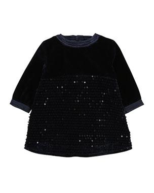 e1a07aefa6d3 Billieblush Velvet   Sequin Long-Sleeve Dress