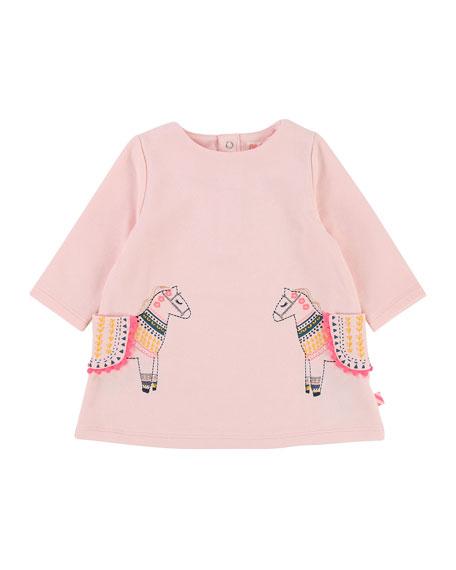 Long-Sleeve Sweater Dress w/ Horse Pockets, Size 12-18 Months