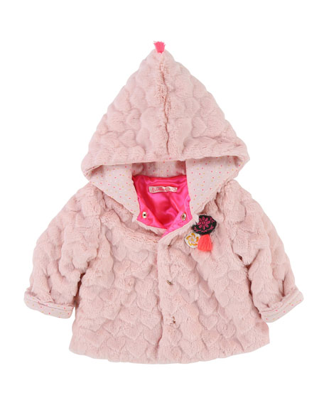 Faux-Fur Heart Quilted Jacket, Size 12-18 Months