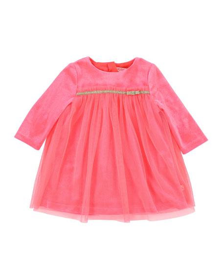 Billieblush Long-Sleeve Velour & Tulle Dress, Size 2-3
