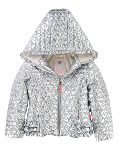 Metallic Heart-Quilted Jacket, Size 2-8