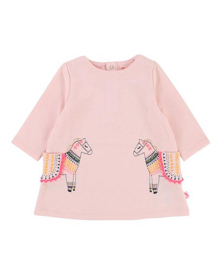 Long-Sleeve Sweater Dress w/ Horse Pockets, Size 2-3