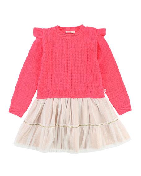 Knit Sweater Dress w/ Tulle Skirt, Size 4-8