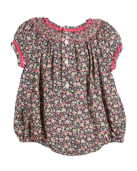 Floral Ruffle-Trim Bubble Bodysuit, Size 6-24 Months