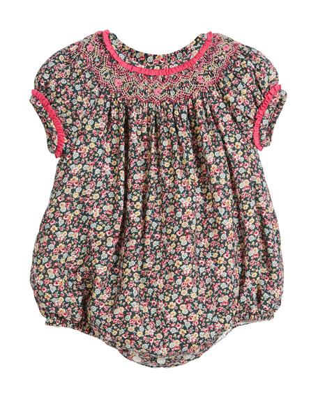Luli & Me Floral Ruffle-Trim Bubble Bodysuit, Size