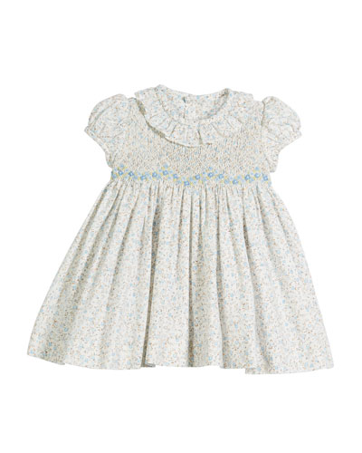 Ruffle-Collar Floral Smocked Dress, Size 6-24 Months