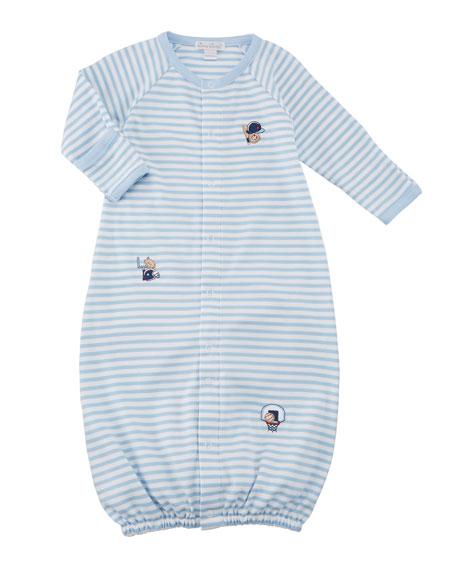 Kissy Kissy Fall Sports Striped Convertible Gown, Size Newborn-S