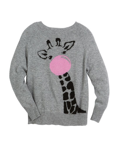 Bubble Gum Giraffe Raglan Sweater, Size 6-14