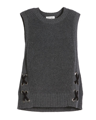 Sleeveless Side-Lace Knit Sweater, Size 6-16
