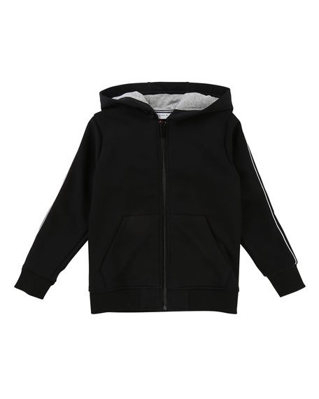Zip-Up Hooded Jacket w/ Logo Sleeves, Size 4-5