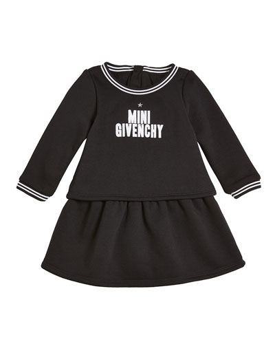 Long-Sleeve Mini Givenchy Logo Dress, Size 12-18 Months