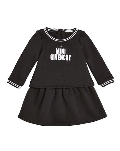 Long-Sleeve Mini Givenchy Logo Dress, Size 2-3