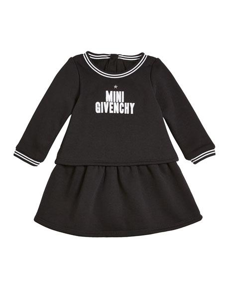 Givenchy Long-Sleeve Mini Givenchy Logo Dress, Size 2-3