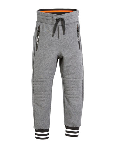 Quilted-Knees Drawstring Jogging Pants, Size 6-10