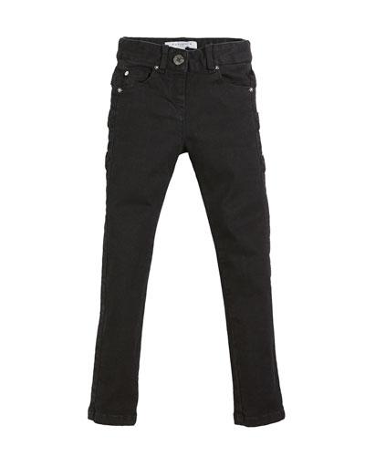 Slim-Fit Leather-Trim Denim Pants, Size 6-10