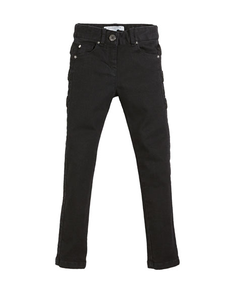 Givenchy Slim-Fit Leather-Trim Denim Pants, Size 4-5