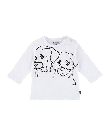 Givenchy Long-Sleeve Rottweiler Drawing Tee, Size 2-3