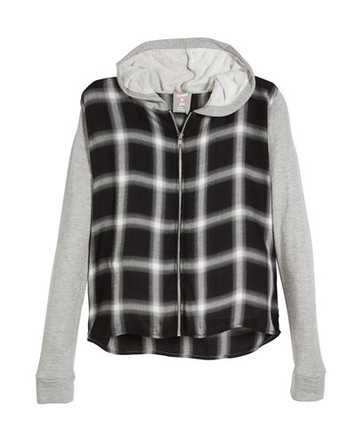 Hooded Plaid Zip-Up Jacket, Size S-XL