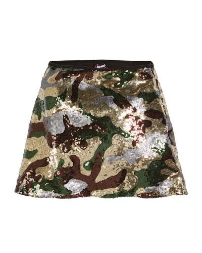 Sequin Camo A-Line Skirt, Size S-XL