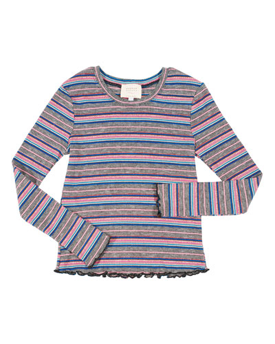 Striped Ruffle-Hem Top, Size 4-6X