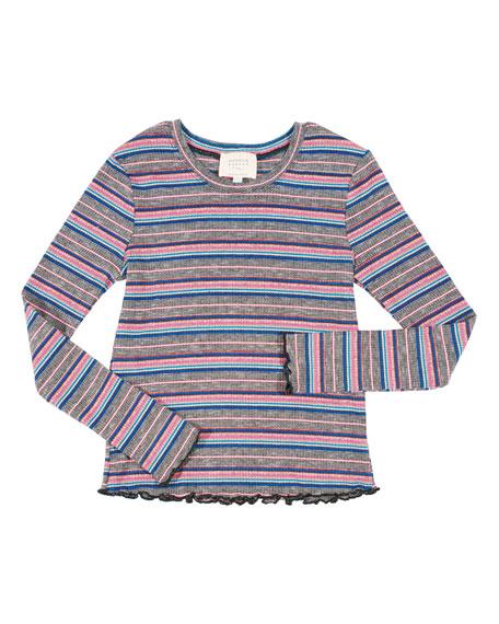 Striped Ruffle-Hem Top, Size 4-6X