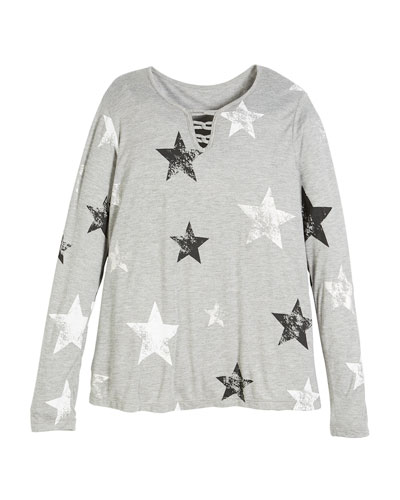 Long-Sleeve Star-Print Top, Size S-XL