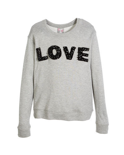 Love Pearly-Trim Sweatshirt, Size S-XL