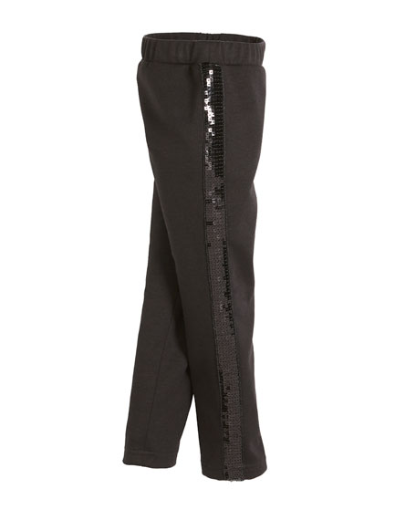 Milly Minis Ponti Sequin Stripe Stretch Leggings, Size 8-16