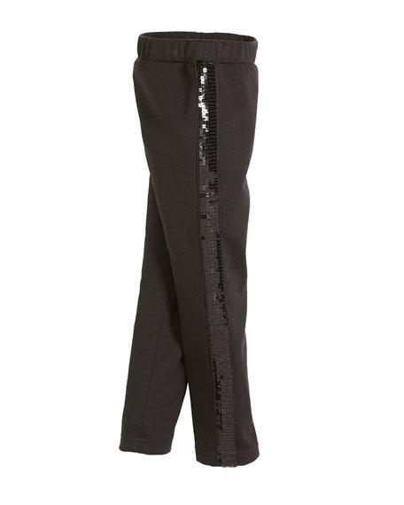Milly Minis Ponti Sequin Stripe Stretch Leggings, Size 4-7