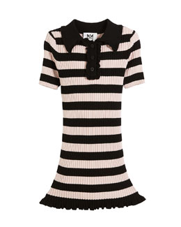 1533934d59db7 Ribbed Striped Ruffle-Trim Polo Dress Size 8-14. Quick Look. Milly Minis