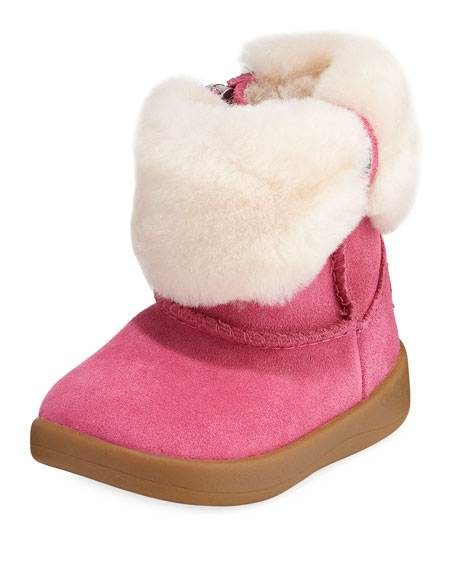 UGG Ramona Suede Boot w/ Shearling Cuff, Baby