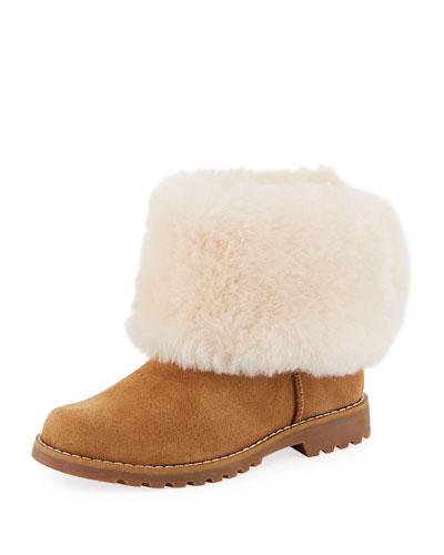 Nessa Suede Boots w/ Exposed Sheepskin Shaft  Kids