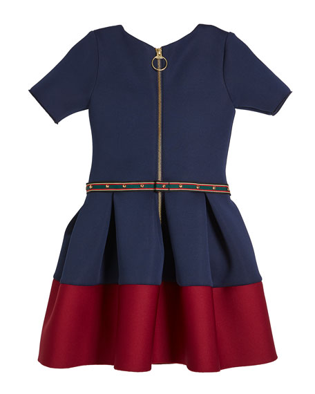 Annie Contrast-Hem Neoprene Scuba Knit Dress w/ Studded Belt, Size 7-16