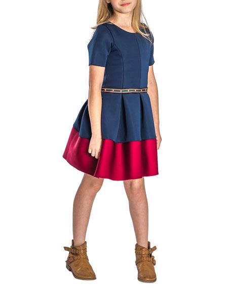 Zoe Annie Contrast-Hem Neoprene Scuba Knit Dress w/ Studded Belt, Size 4-6X