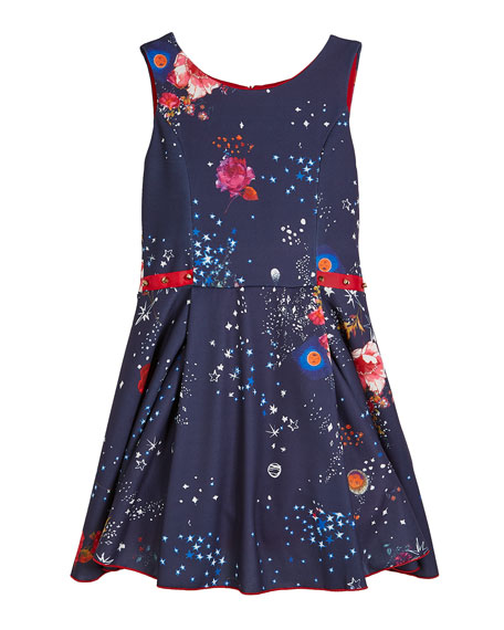 Celestial Floral & Stars Swing Dress w/ Studded Ribbon Detail, Size 7-16
