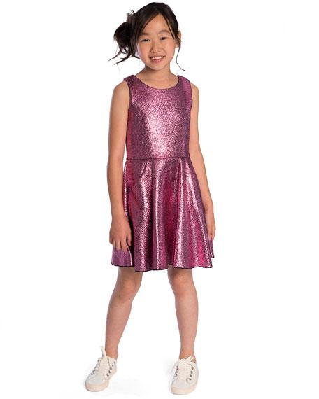 Sara Metallic Foil Keyhole-Back Dress, Size 7-16