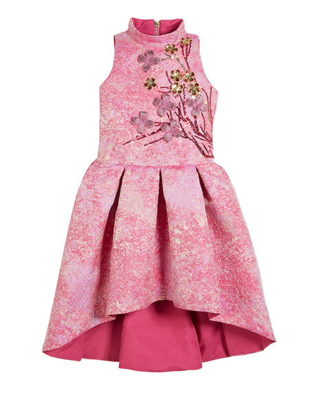 Morgan Metallic High-Low Dress w/ 3D Floral Applique, Size 7-16