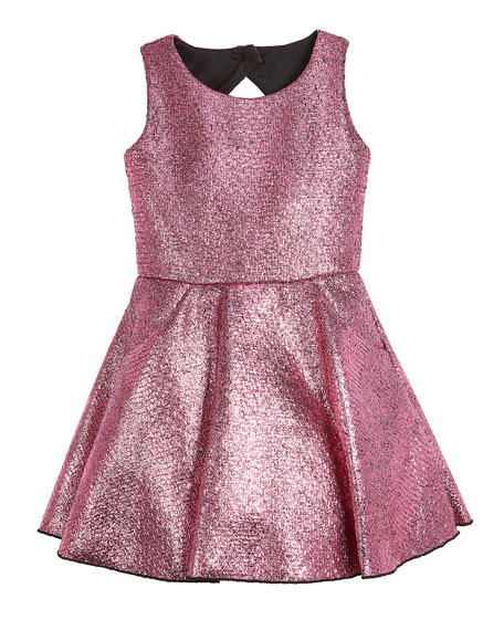 Sara Metallic Foil Keyhole-Back Dress, Size 2-6X