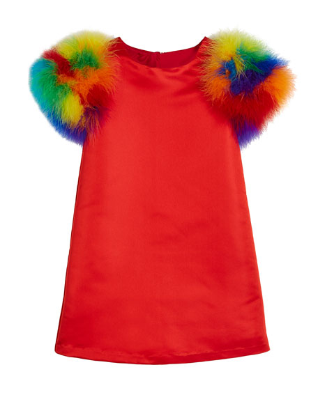 Elena A-Line Dress w/ Multicolored Feather Sleeves, Size 10-12
