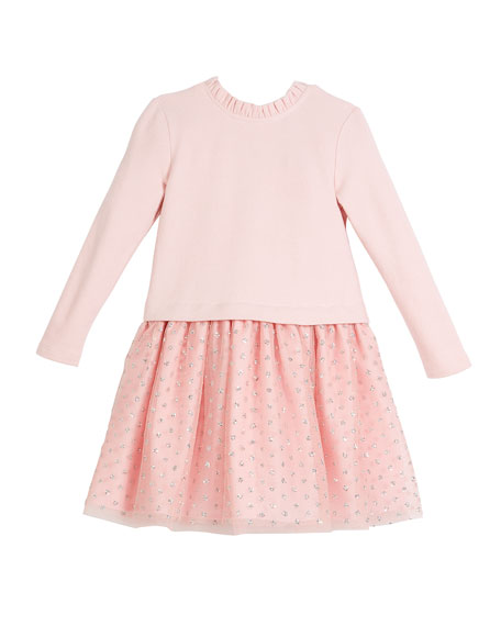 Charabia Long-Sleeve Knit Top Dress w/ Tulle Skirt,