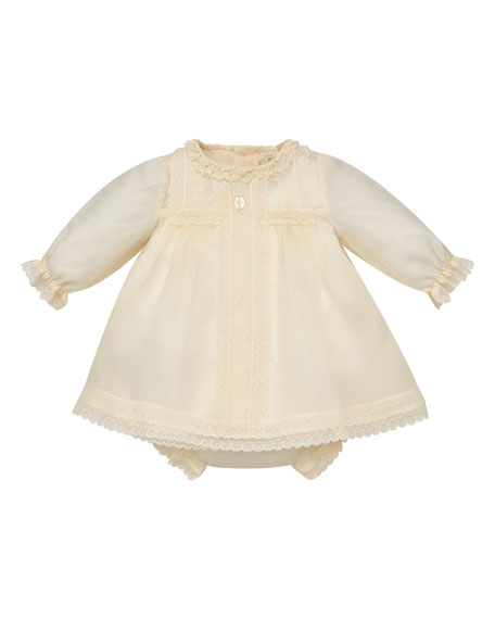 Long Sleeve Silk Organdy Christening Dress W/ Bloomers, Size 6 M 2 by Pili Carrera