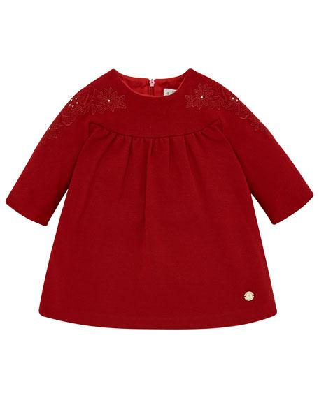 Pili Carrera Long-Sleeve Knit Dress w/ Flower Embroidery, Size 12M-4
