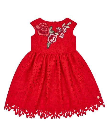 Pili Carrera Cap-Sleeve Lace Dress w/ Flower Applique, Size 4-10