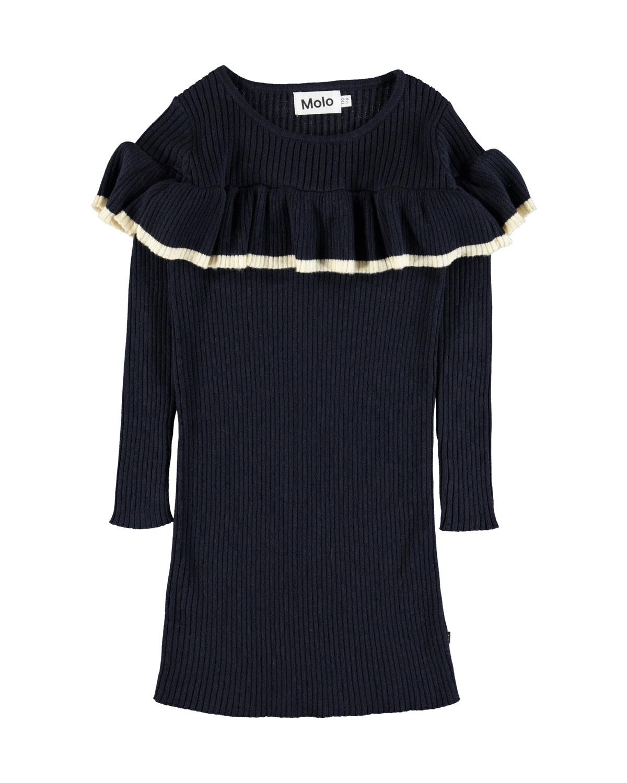 ba5d029cdac Molo Celise Ruffle-Trim Long-Sleeve Rib Knit Dress
