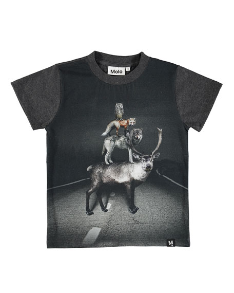 Molo Raymont Road Animals Short-Sleeve Tee, Size 4-10